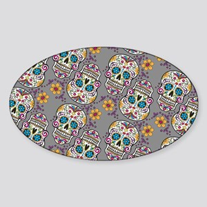 Sugar Skull Halloween Grey Sticker (Oval)