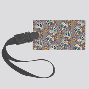 Sugar Skull Halloween Grey Large Luggage Tag