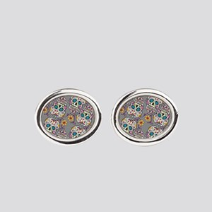 Sugar Skull Halloween Grey Cufflinks