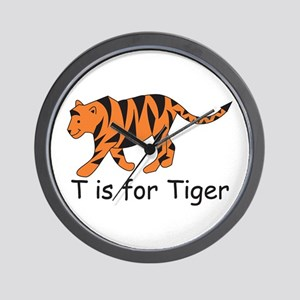 T is for Tiger Wall Clock