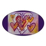 Love Hearts + Poem Words Sticker (Oval)