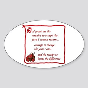 Yarnaholic prayer Oval Sticker