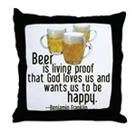Beer is Proof Franklin Throw Pillow