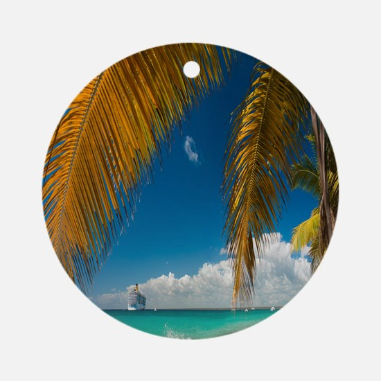 Palm trees cruise Catalina Island - Round Ornament