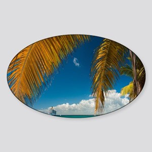 Palm trees cruise Catalina Island - Sticker (Oval)