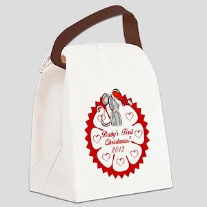 Santa Mouse 1st Christmas Canvas Lunch Bag