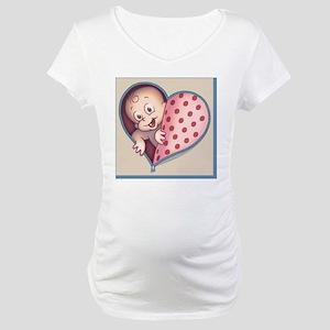 zip-heart-womb-pnk-PLLO Maternity T-Shirt