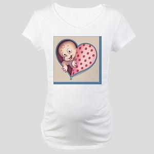 zip-heart-womb-pnk-TIL Maternity T-Shirt