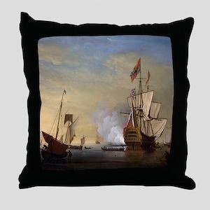 Tall Ship Firing A Gun Throw Pillow