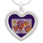 Love Hearts + Poem Words Silver Heart Necklace