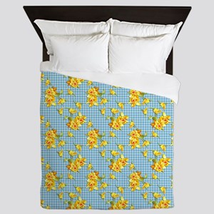 Yellow Daffodils on Blue Gingham Queen Duvet