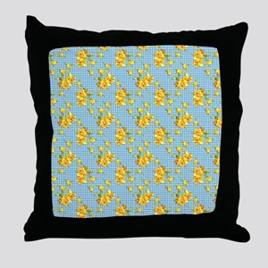 Yellow Daffodils on Blue Gingham Throw Pillow