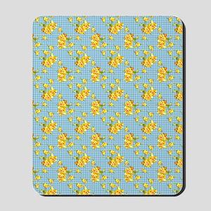 Yellow Daffodils on Blue Gingham Mousepad