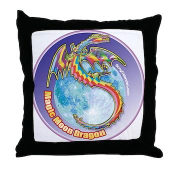 Magic Moon Dragon Throw Pillow