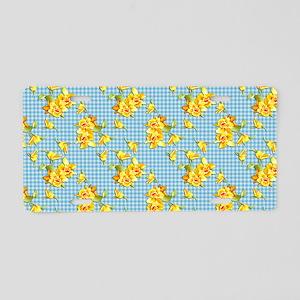 Yellow Daffodils on Blue Gi Aluminum License Plate