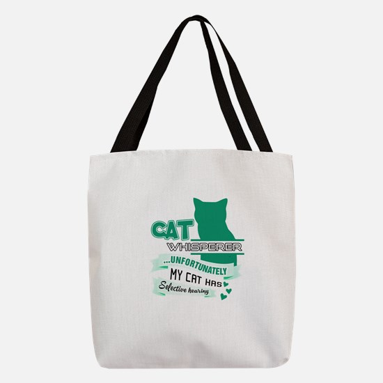 Cat Design Polyester Tote Bag