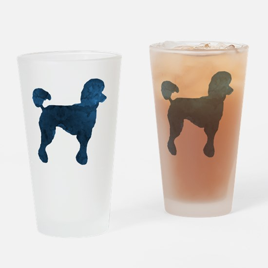 Cute Whimsical poodle Drinking Glass