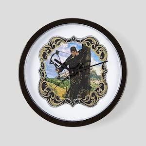bow hunting logo Wall Clock