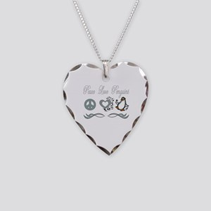 Peace love poker Necklace Heart Charm