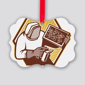 Beekeeper Apiarist Holding Bee Br Picture Ornament