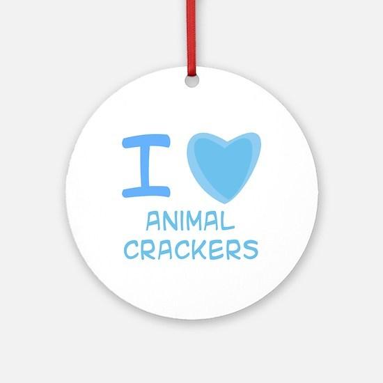 Blue I Heart (Love) Animal Crackers Ornament (Roun