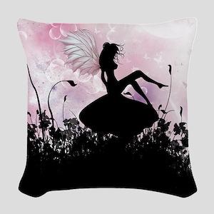 Fairy Silhouette Woven Throw Pillow