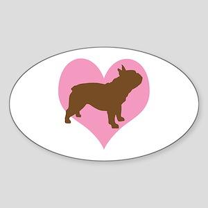 french bulldog & heart Oval Sticker