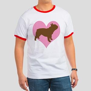 french bulldog & heart Ringer T