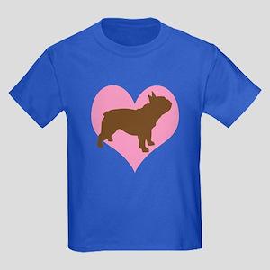 french bulldog & heart Kids Dark T-Shirt