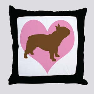 french bulldog & heart Throw Pillow