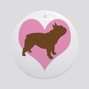 french bulldog & heart Ornament (Round)