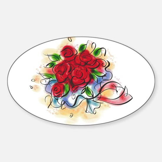 10x10_apparel floral roses copy.png Sticker (Oval)