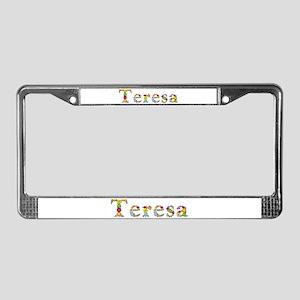 Teresa Bright Flowers License Plate Frame