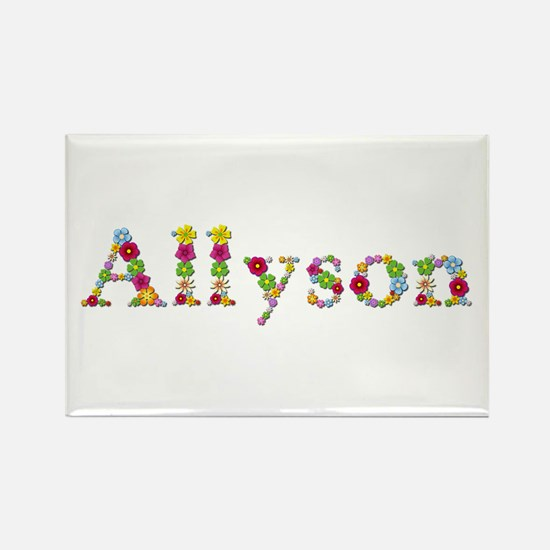 Allyson Bright Flowers Rectangle Magnet