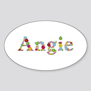 Angie Bright Flowers Oval Sticker