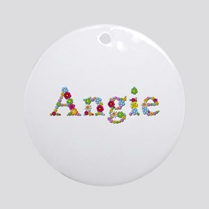 Angie Bright Flowers Round Ornament