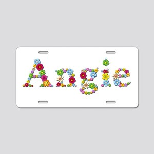 Angie Bright Flowers Aluminum License Plate