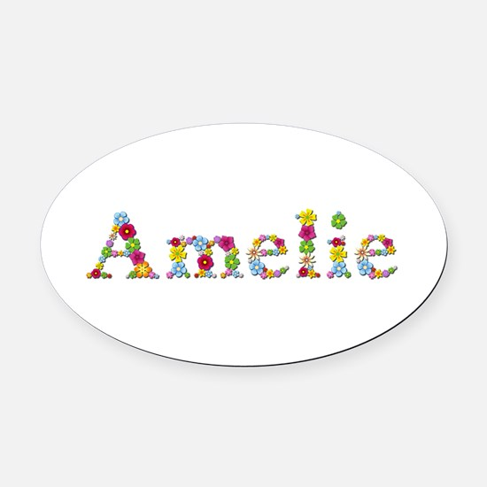 Amelie Bright Flowers Oval Car Magnet