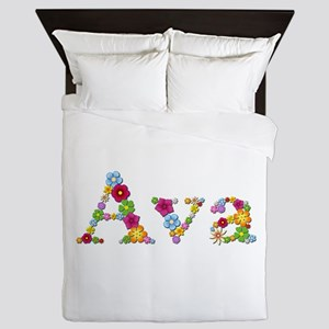 Ava Bright Flowers Queen Duvet