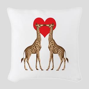 Giraffe Love Woven Throw Pillow