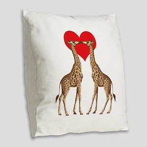 Giraffe Love Burlap Throw Pillow