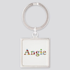 Angie Bright Flowers Square Keychain