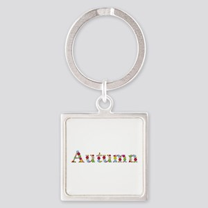 Autumn Bright Flowers Square Keychain