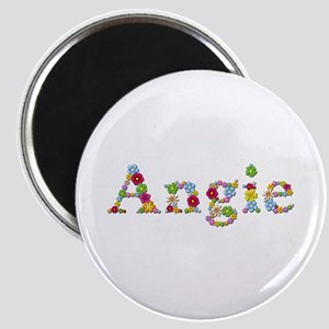 Angie Bright Flowers Round Magnet