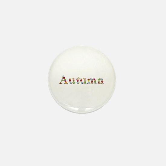 Autumn Bright Flowers Mini Button