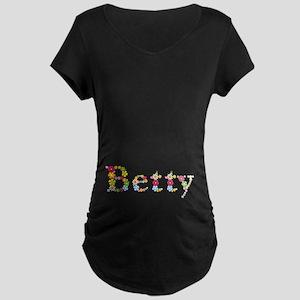 Betty Bright Flowers Maternity Dark T-Shirt