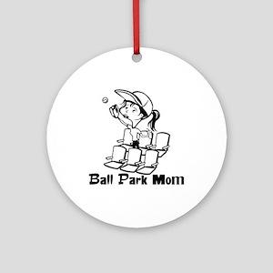 Ball Park Mom Ornament (Round)