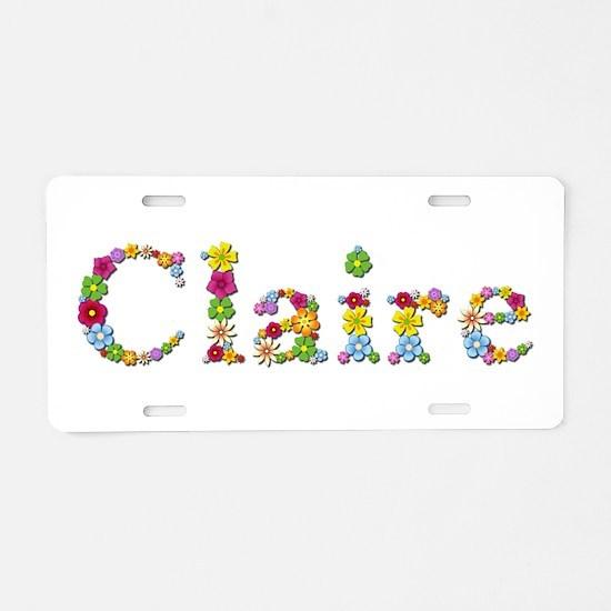 Claire Bright Flowers Aluminum License Plate