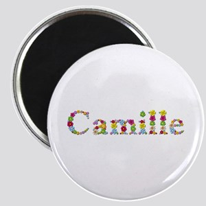 Camille Bright Flowers Round Magnet