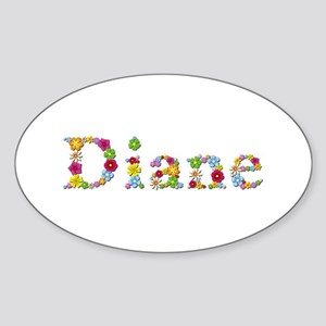 Diane Bright Flowers Oval Sticker